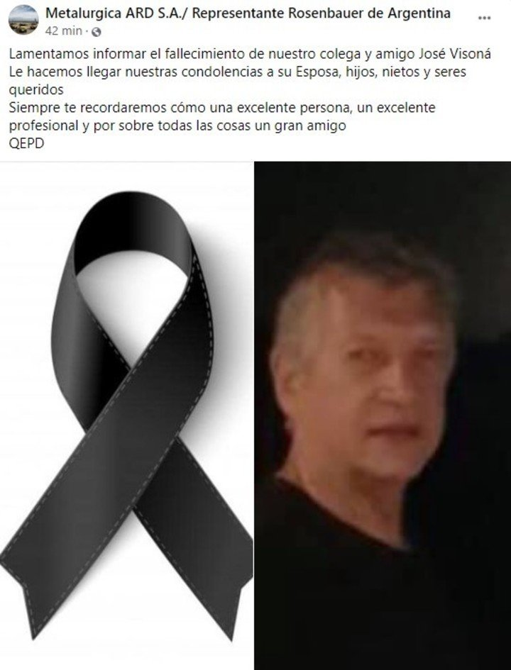 Así fue baleado en Facebook el empresario José Visoná (69), asesinado por motos en Villa Ballester.