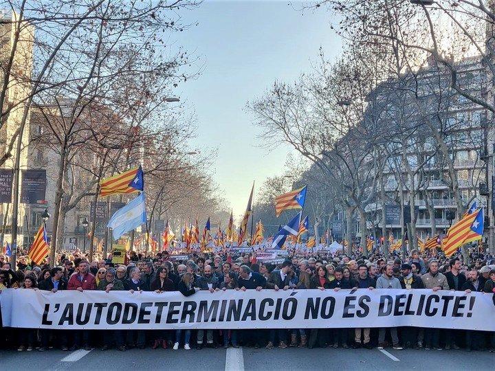 Manifestación contra el juicio del proceso independentista en 2019. Foto: dpa