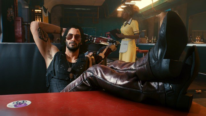 Keanu Reeves, Johnny Silverhand, es un personaje clave en el juego Cyberpunk 2077.  Foto CD Projekt RED