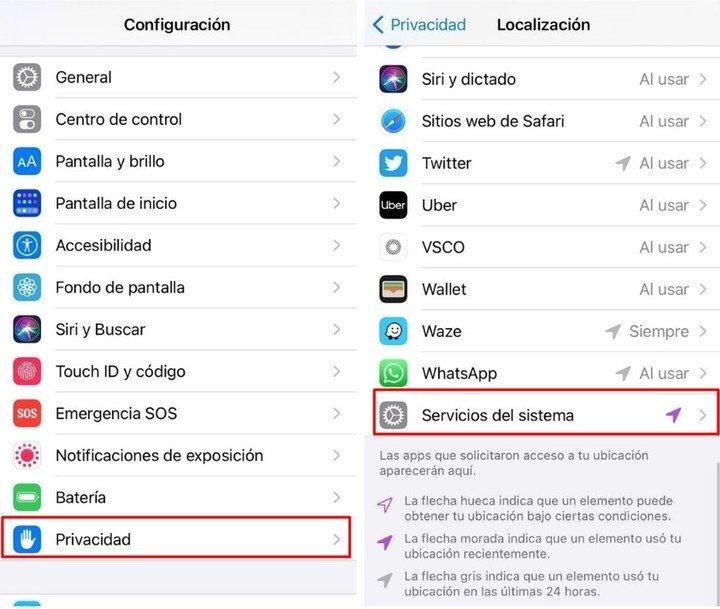 Desde la sección Configuración></noscript> Privacidad, puede acceder a las ubicaciones importantes. Foto: captura.» observer=»» data-observer-function=»loadLazyImg»/></figure><figcaption> <p>Desde la sección Configuración> Privacidad, puede acceder a las ubicaciones importantes. Foto: captura. </p> </figcaption></div> </div> <p> Ubicaciones significativas de Apple es una característica similar a Google Maps «Cronología». Usando esta función <strong>Apple realiza un seguimiento de los lugares que el usuario visitó recientemente</strong>y también guarde la frecuencia con la que va a esos lugares y la fecha.</p> <div style=