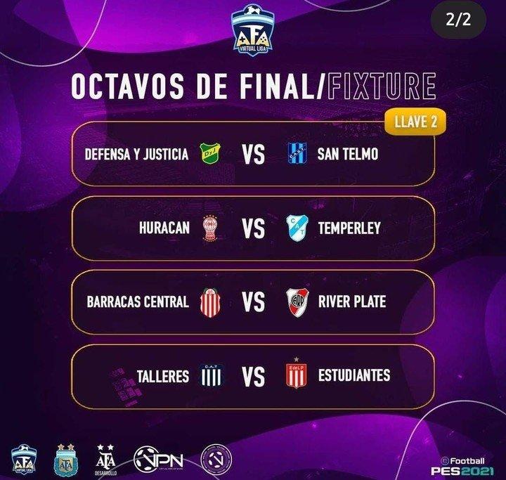 El partido de octavas de la AFA Virtual Liga.
