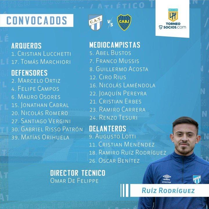 La escuadra del Atlético Tucumán para recibir a Boca.  Foto: ACT oficial
