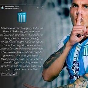 Nery Domínguez tiene una sobrecarga en la parte posterior de un muslo y también tiene dudas.  Foto: @RacingClub