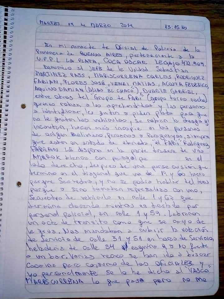Carta suicida de un policía de La Plata, donde denuncia la corrupción de sus compañeros.