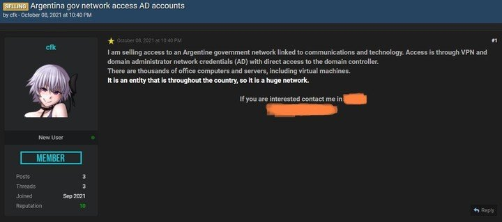 Fuga de datos en un sitio de compra y venta de ciberdelincuentes.  Captura de pantalla de la foto