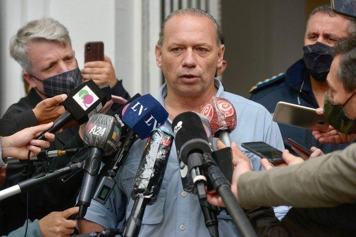 Rueda de prensa de Sergio Berni por el asesinato de Lucas Iván Cancino.  Foto Andrés D'Elia.